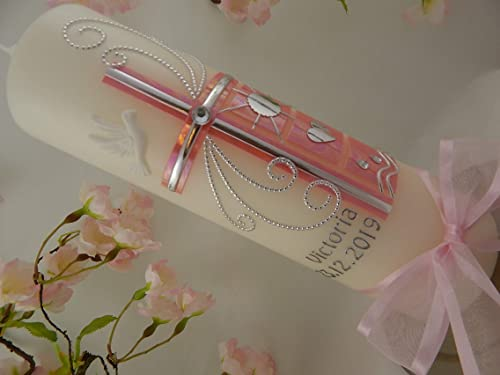 Taufkerze Mädchen Kreuz pink silber mit Name und Datum