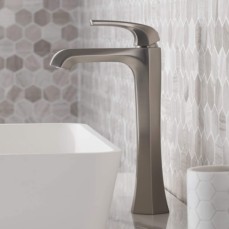 Kraus KVF-1210SFS Esta Single Handle Vessel Bathroom Faucet with Pop-Up Drain, Spot Free Stanless Steel