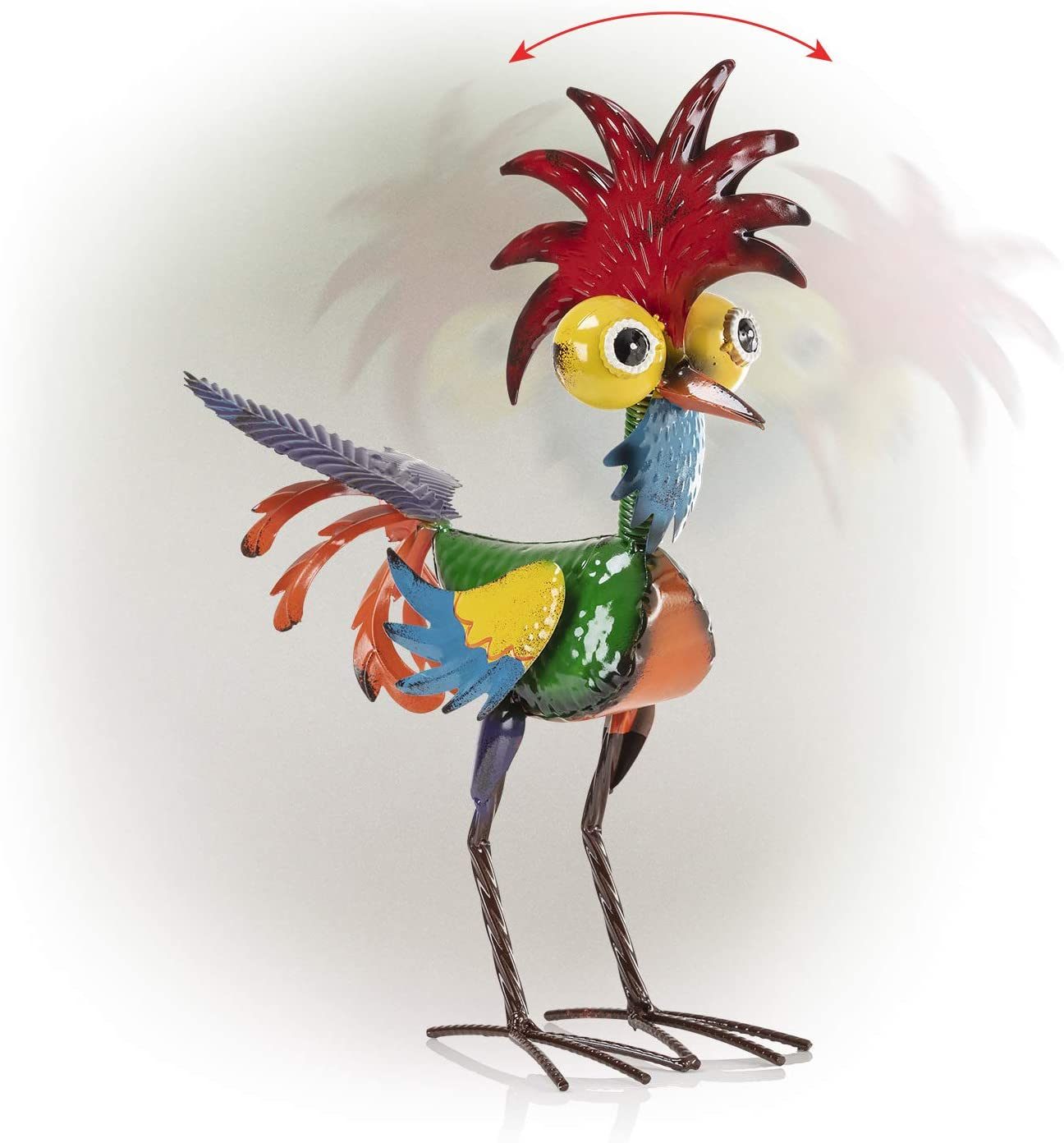Alpine Corporation MZP388 Wacky Tropical Metal Rooster Décor Statue, 17 Inch Tall, Multi-Color
