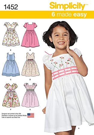 Simplicity Schnittmuster 1452 – Kind Kleid mit Mieder-Größen: 3–8 ...