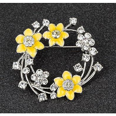 Daffodil Brooch Radiant Yellow Enamel Petals & Gem Middle wGYdP