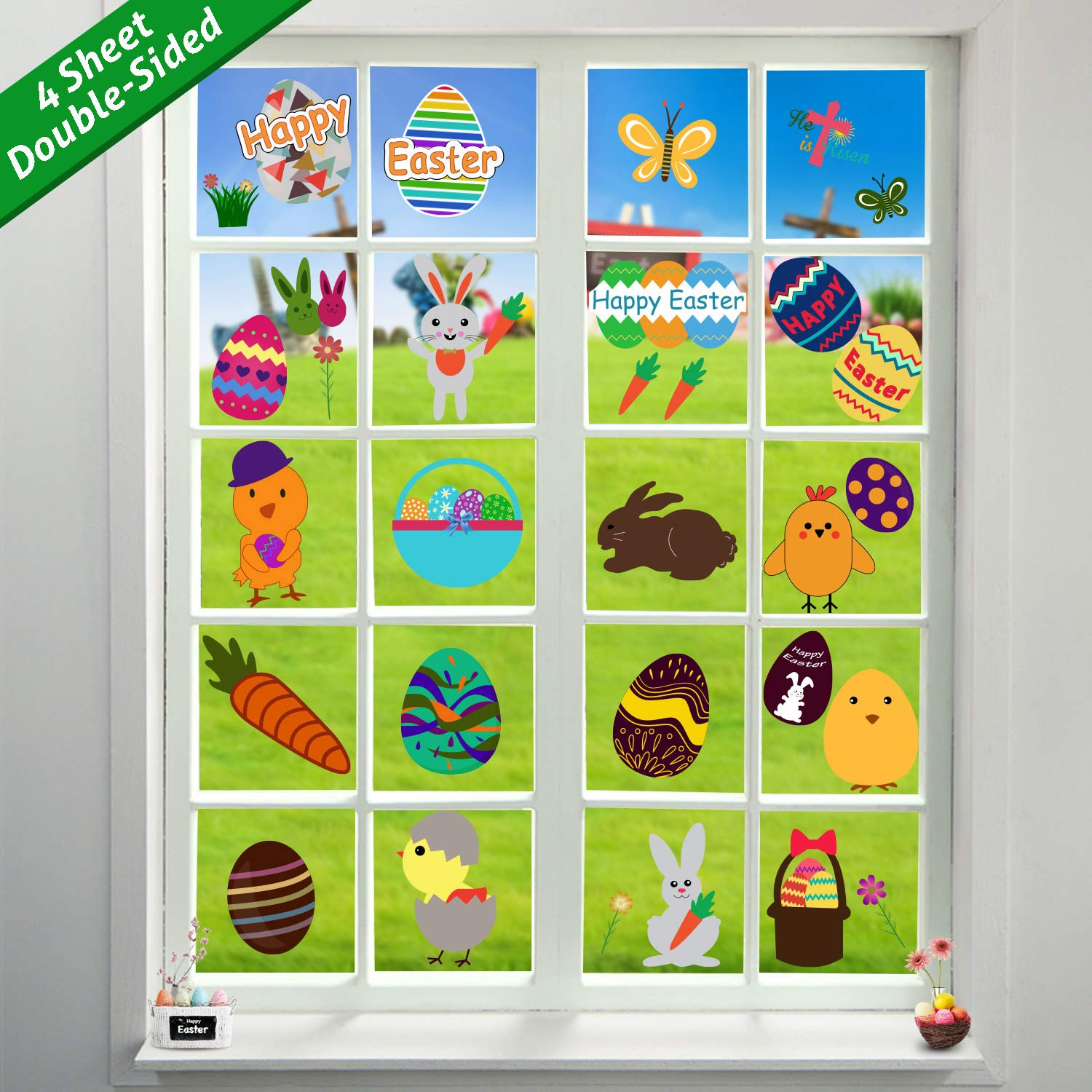 Tifeson 66 PCS Easter Window Clings Static Stickers Decal - Removable PVC Easter Bunny Easter Eggs Window Decals - Easter Spring Decorations Party Supplies