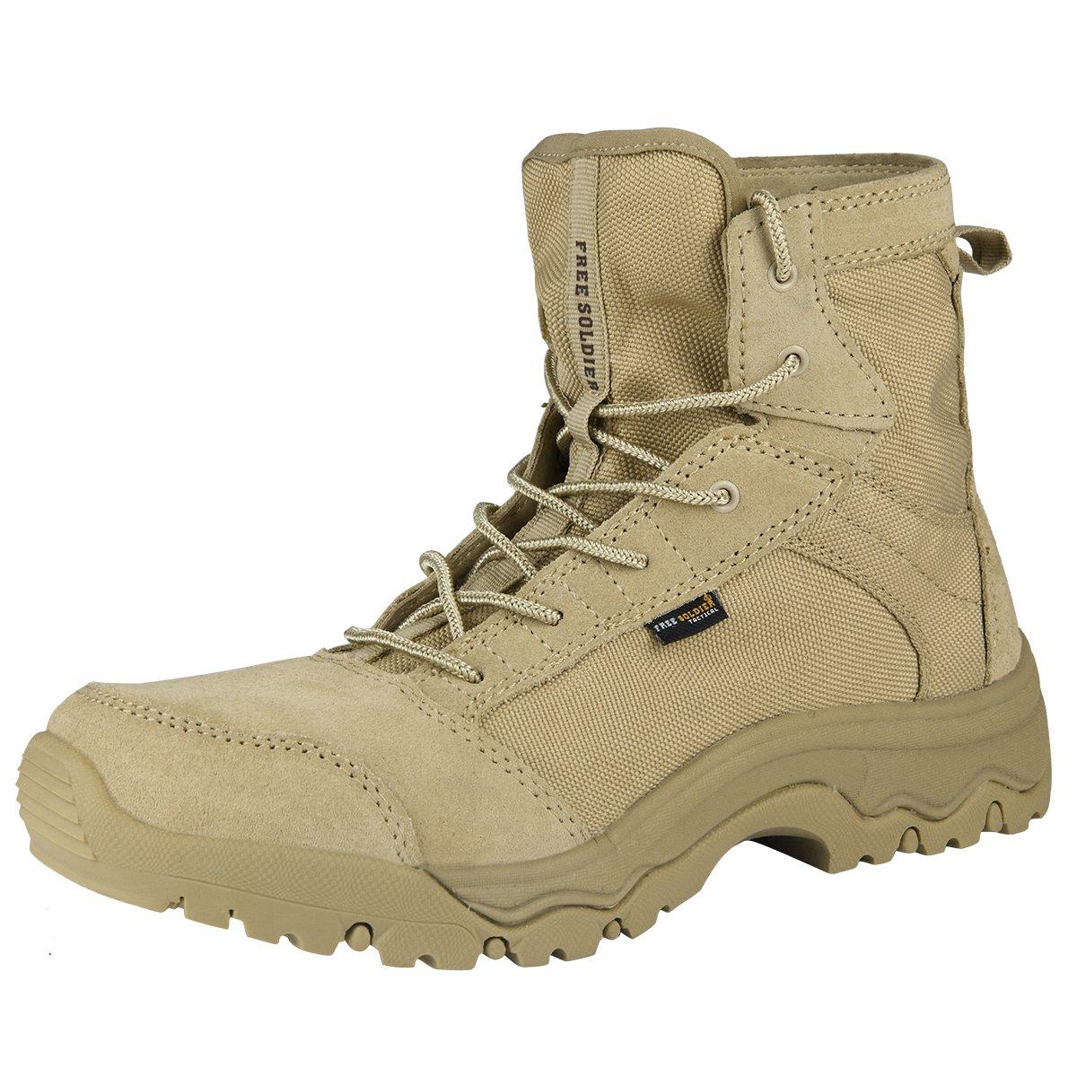 FREE SOLDIER Men's Lightweight Tactical Boots - Desert Tan(Sand 10.5)