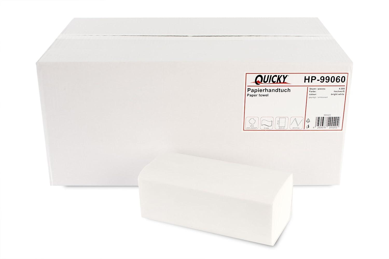 Toallas de mano de papel rápido con ZZ-Fold 25 x 23 cm, 2 capas recicladas, blanco, 4000 hojas: Amazon.es: Industria, empresas y ciencia