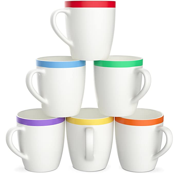 Vremi 12 oz Coffee Mugs Set of 6 - White Ceramic Porcelain Mugs for Women and Men - Hot Tea Mug Set with Cool Decorative Red Orange Yellow Green Blue Purple Color Trim - Microwave and Dishwasher Safe