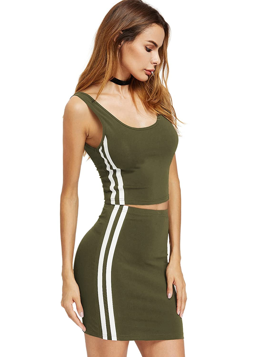 9ff026ea47 Romwe Women's 2 Piece Crop Tank Top with Skirt Set Sleeveless Bodycon Mini  Dress at Amazon Women's Clothing store: