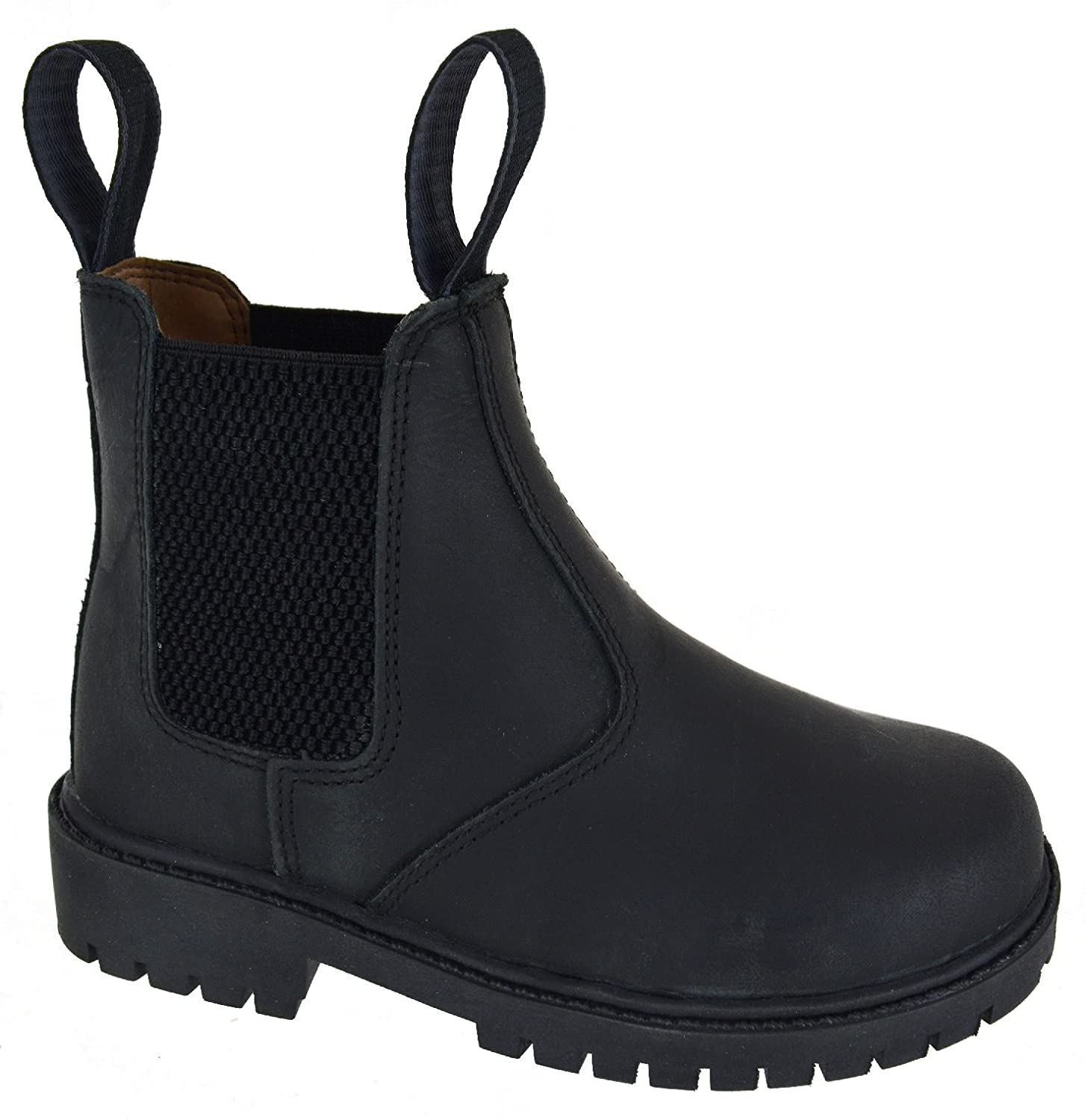 Catesby Boys Junior Black Leather Dealer Pull On Brogue Chelsea Boots