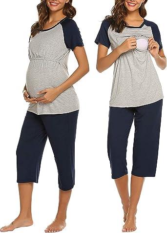 Unibelle - Pijama de lactancia para mujer (algodón y cuello en pico)