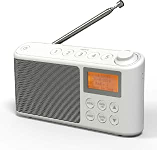 DAB/DAB+ & FM Radio, Mains and Battery Powered Portable DAB Radios Rechargeable Digital Radio with USB Charging for 15 Hours Playback (White)