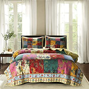 "Jessy Home Cotton Floral Quilt Set King Size Luxury Colorful Floral Plaid Patchwork Bedspread Cotton Plaid Flower Leaves Quilts Country Vintage Reversible Coverlet Set All Seasons(108""x96"")"