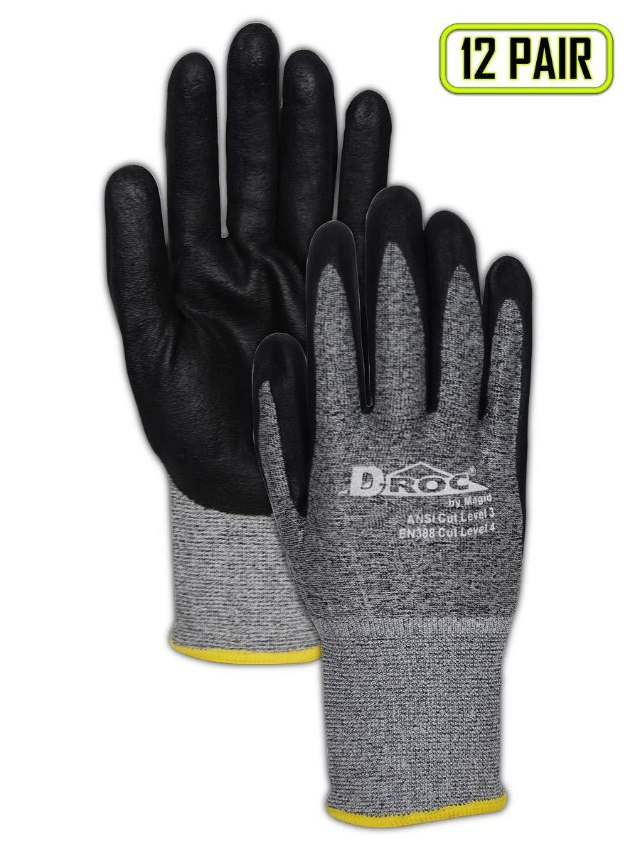 Magid Glove & Safety GPD583-12 D-ROC GPD583 18-Gauge HPPE Blend Micro-Foam Nitrile Palm - Cut Level 3, ANSI Abrasion 4, Blended Micro-Foam Nitrile, Size 9, Black/Grey (12 Pairs)