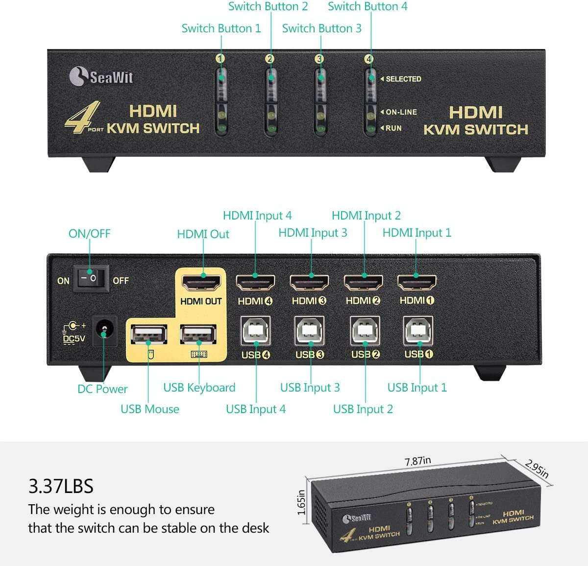 2 in 1 Out UHD 4K@30Hz USB KVM Switcher for Multiple Computers with One Monitor 2in 1 Cables Included MT-VIKI 2 Ports KVM Switch HDMI w//Wired Control