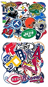 Waterproof Sport Fans Stickers of 30 Pcs MLB Baseball Team Logo 32 NFL Football Team Logo for Kids Teens Boys Children and Adult for Laptop Water Bottle Bumper Moto Helmet Luggage Sports Equipment