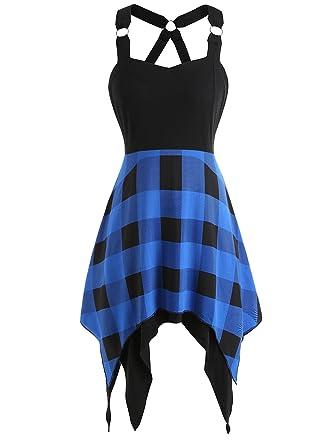 3b8302fd53 Rosegal Women s Summer Sweetheart Neck Sleeveless Plaid Asymmetrical Dress  (Blue