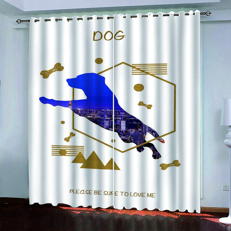 YUNSW Cortinas con Diseño De Caballo De La Serie Animal 3D, Cortinas Opacas para Sala De Estar, Dormitorio, Cocina Y Jardín, Cortinas Perforadas De Dos Piezas