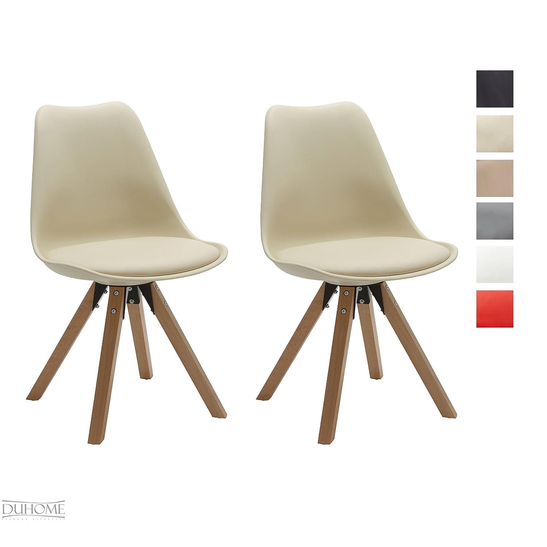Duhome Elegant Lifestyle® Stuhl Esszimmerstühle Küchenstühle !2 Er Set! In  CREME Küchenstuhl Mit Holzbeine Sitzkissen TYP9 518M Esszimmerstuhl RETRO  ...