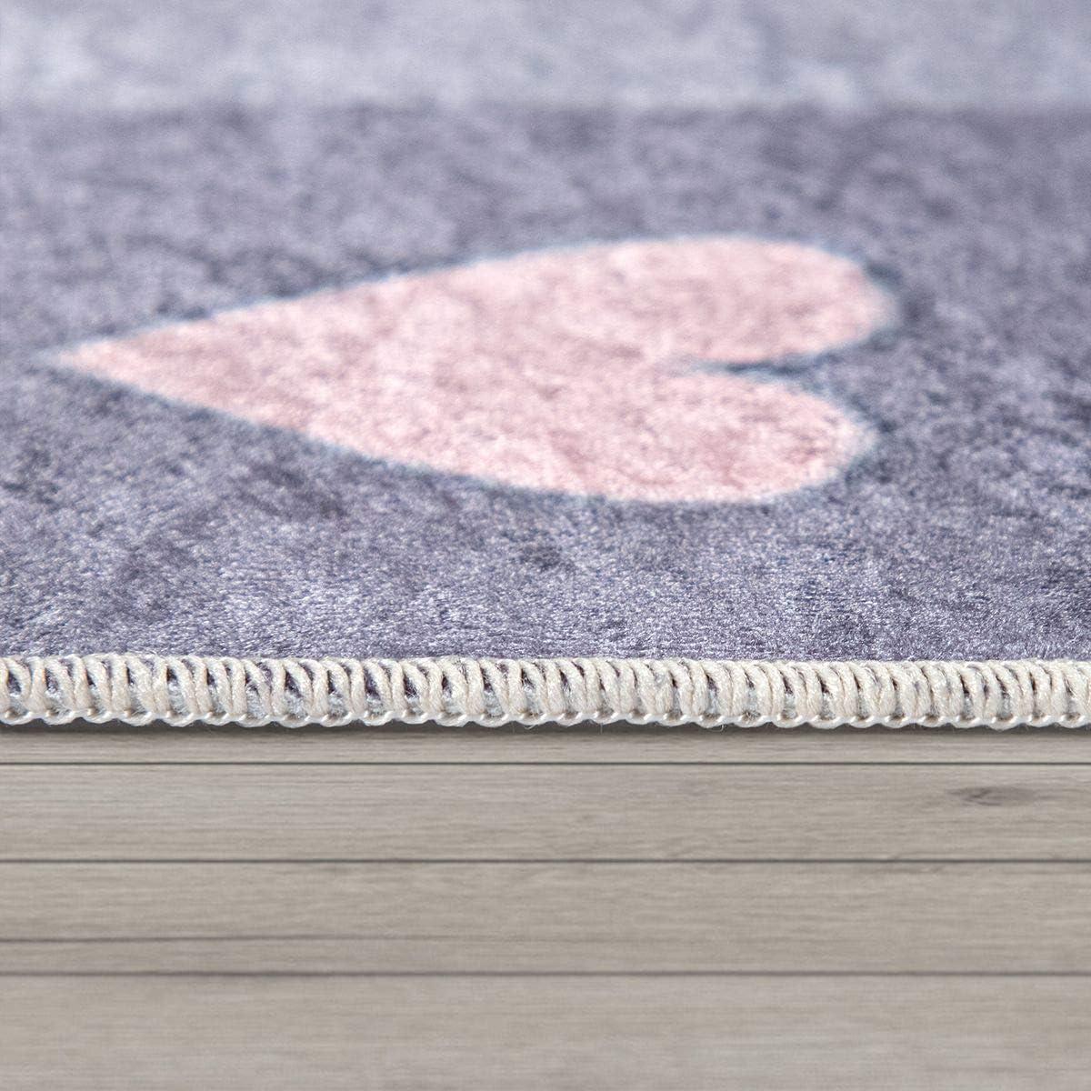 Gr/ö/ße:80x150 cm Tappeto per Bambini A Tessuto Liscio Adatto per La Cameretta Testo E Nuvole Grigio-Rosa