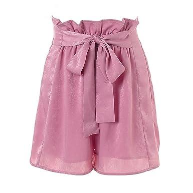 e69cac7d929 Doris Batchelor Trendy Ruffle Bow Summer Shorts Women Casual Soft Beach  Elastic Waist Shorts Chic Pink