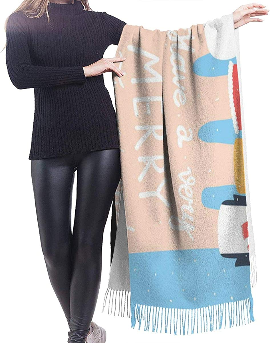 Holiday With Finger Puppets Winter Cartoon Characters Fox Deer Snowman Santa Claus Penguin With Hand Fashion Lady Shawls,Comfortable Warm Winter Scarfs Soft Cashmere Scarf For Women