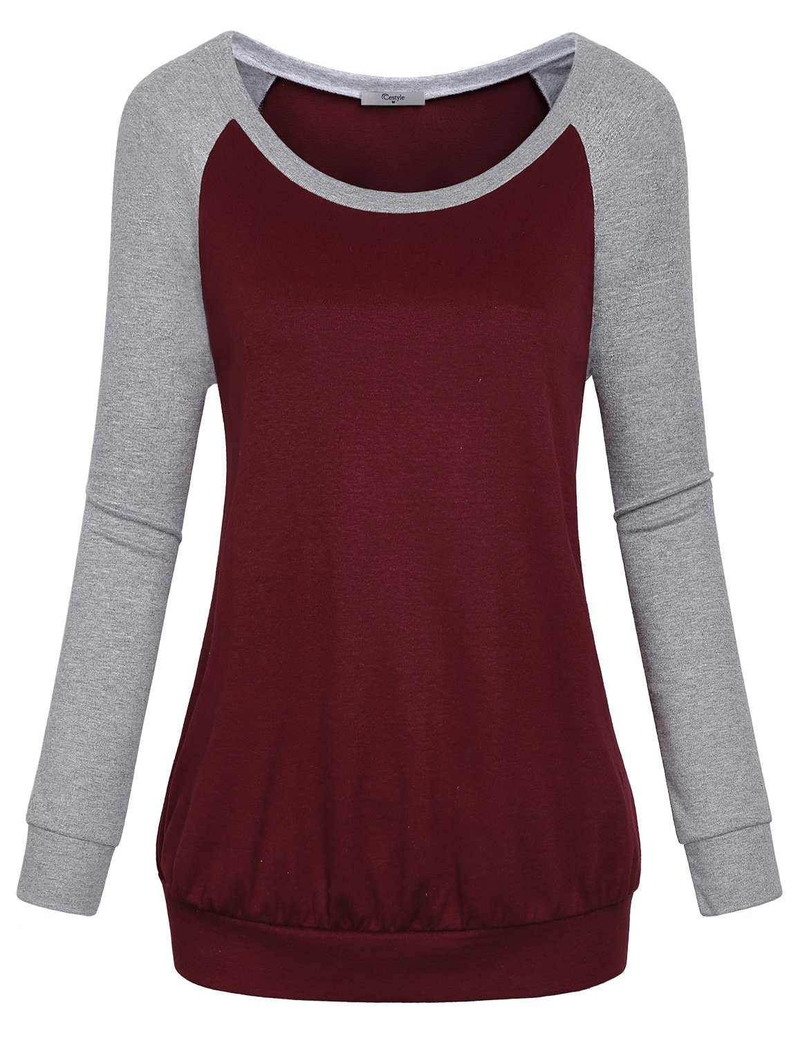 Cestyle Casual Sweaters for Women, Fall Long Sleeve Round Neck Splice Shirts Sports Loose Fit Cotton Knitted Cute Tunic Sweatshirts Loft Clothing Wine X-Large
