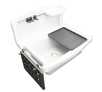 Becken Waschküche multiset ausgussbecken für garten keller waschküche weiß amazon