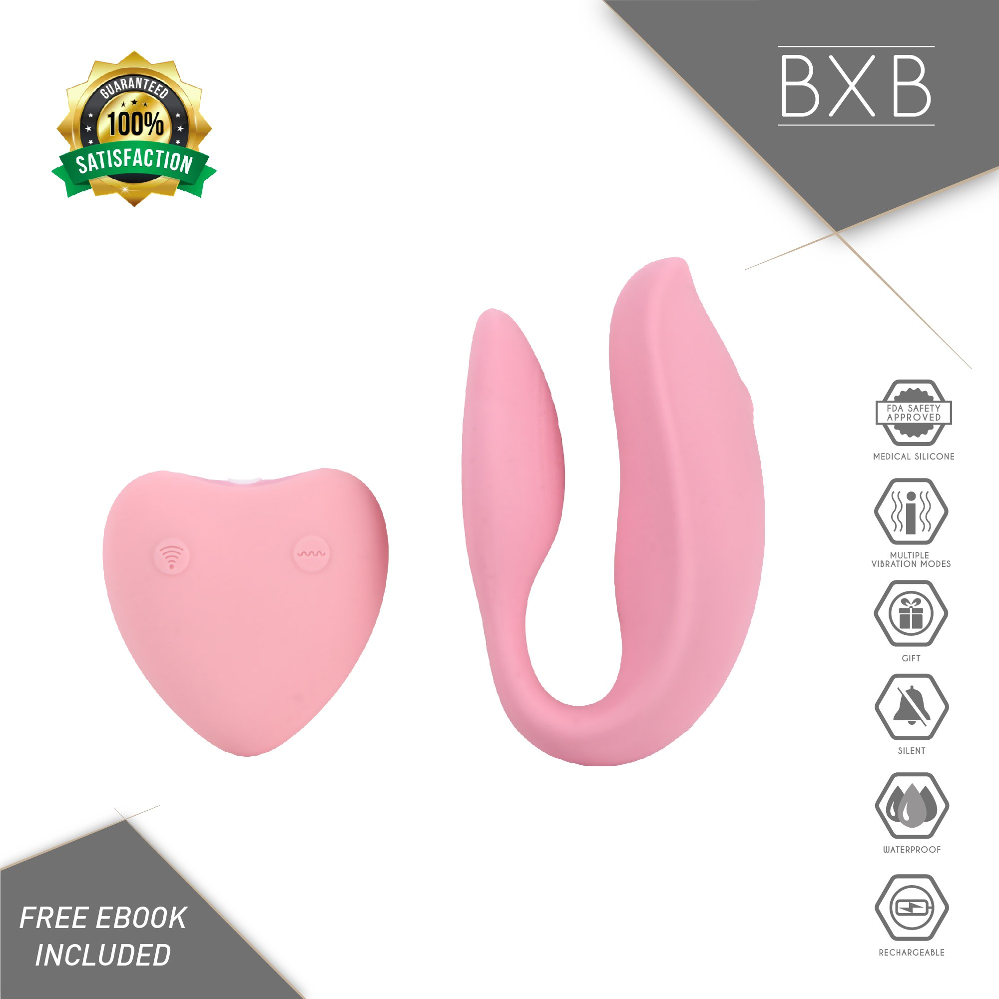 Luxury Mini Massager by BXB | Powerful | Cordless | Compact | Therapeutic | Recovery | Muscle Aches | Travel Gift | Hypoallergenic | Silicone | USB | Wireless | Stress Away