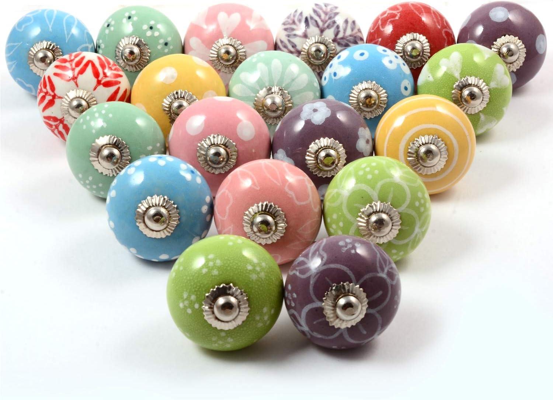 Premium Quality Assorted Ceramic Knobs- Multi Color Mix Designed Ceramic Cupboard Cabinet Door Knobs Drawer Pulls & Chrome Hardware (20, Pastel)