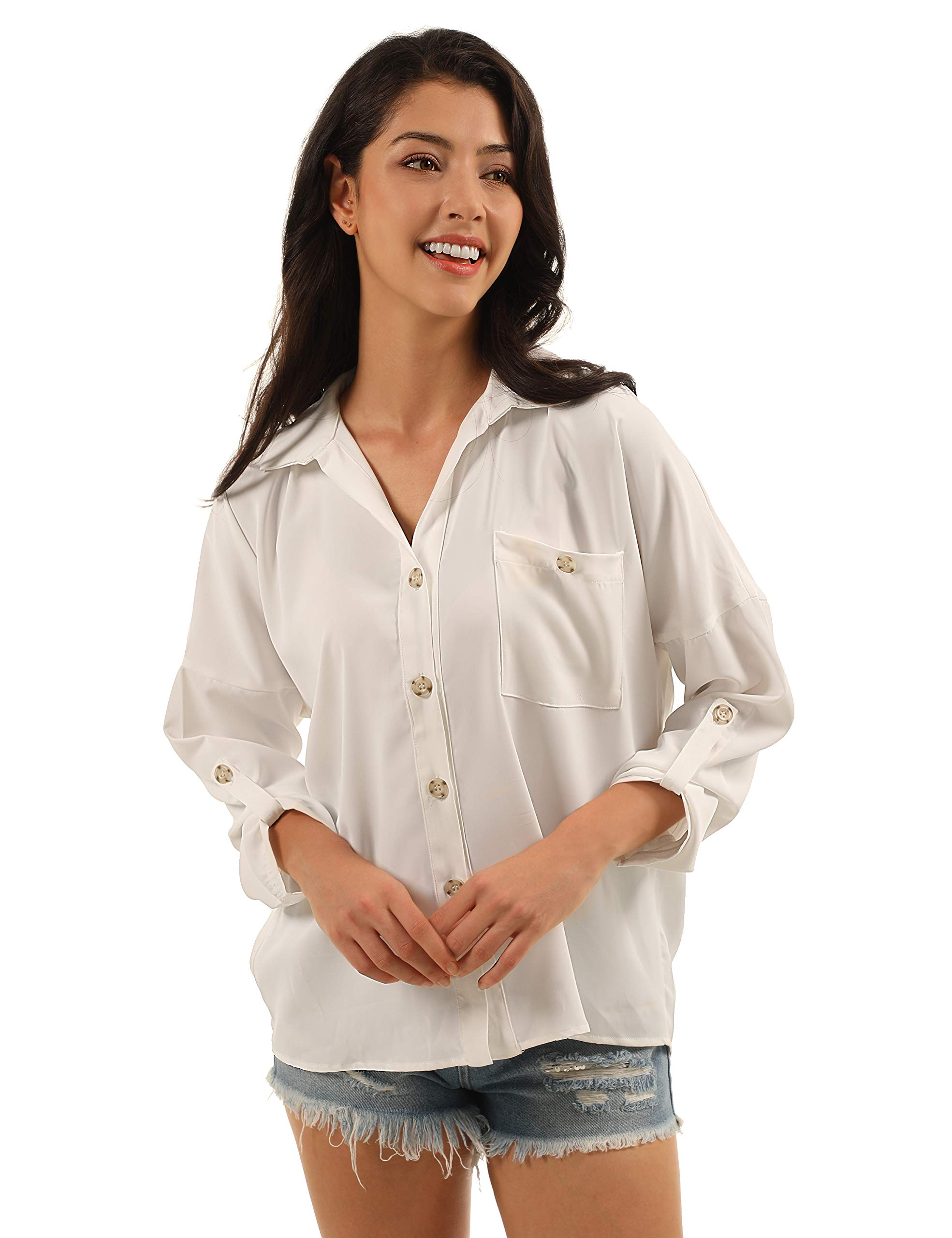 Blooming Jelly Womens Long Sleeve Button Down Shirt Collared V Neck Blouse Roll Up Sleeve Pocket Casual Tops (x-Large, White)