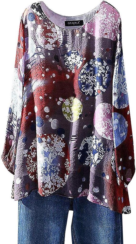 TOPKEAL Camiseta Holgada de Algodón y Lino de Tallas Grandes para Mujer Camisetas con Estampada Vintage Blusas de Damas