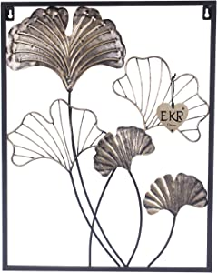 EKR Ginkgo leaves flower metal wall décor accents for home ornament wrought iron wall sculptures silver gold black