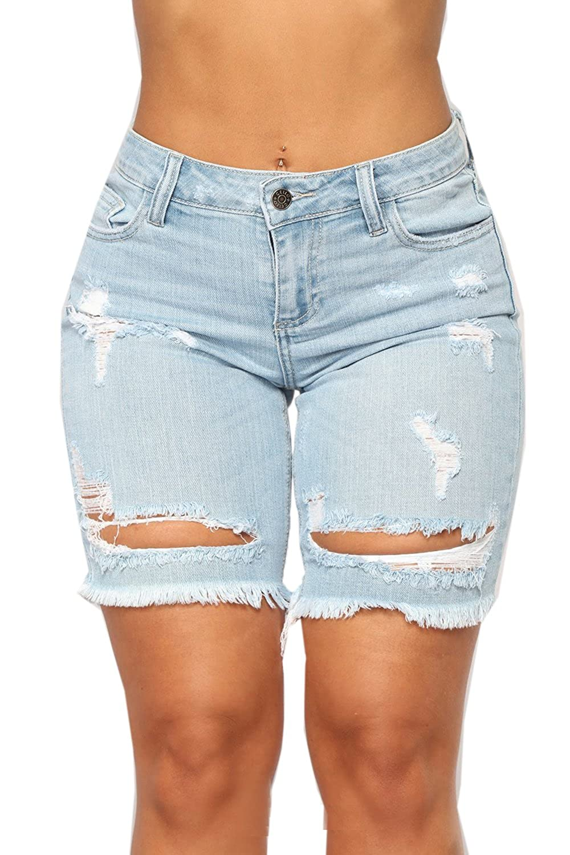 19ff661b54f Hestenve Womens Distressed Cut Off Jeans Shorts Ripped Hole Raw Hem Frayed  Denim Shorts at Amazon Women s Clothing store