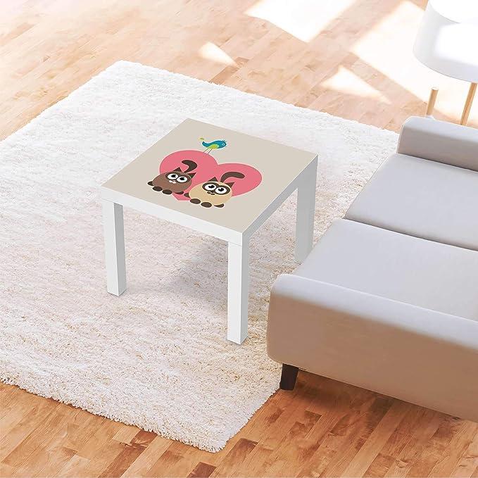 creatisto Möbelfolie für Kinder passend für IKEA Lack Tisch 55x55 cm I Tolle Möbeldeko für Kinderzimmer Deko I Design: Cats Heart