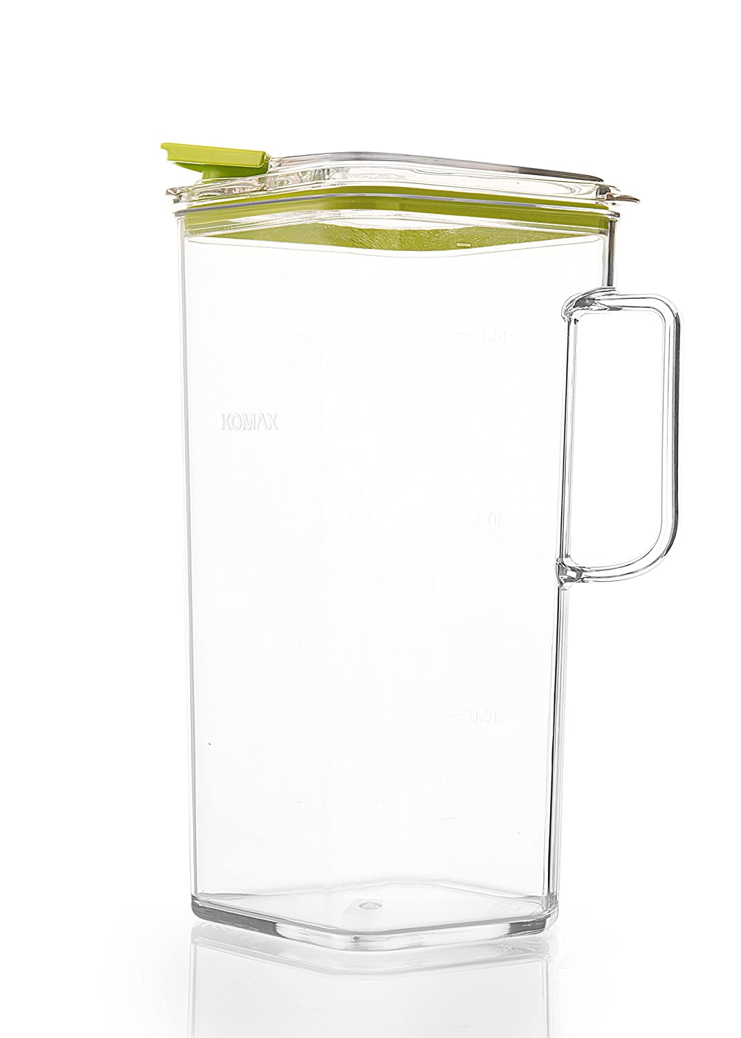 Komax Tritan Plastic Pitcher With Lid | 2-quart (64-oz) Compact Water Pitcher With Green Lid | Perfect for Tea, Lemonade, Milk, Sangria Pitcher | Clear, BPA-Free, Space Saving Water Pitcher