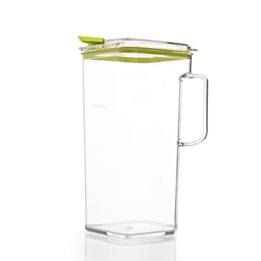 Komax Tritan Plastic Pitcher With Lid | 60-oz (1.8-quart) Water Pitcher With Green Lid | Compact Water, Tea, Lemonade, Milk, Sangria Pitcher | Space Saving Water Pitcher | BPA-Free Plastic Carafe
