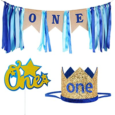 Maticr Baby Boy First Birthday Decorations First Birthday Highchair Banner Gold Black Crown and Cake Topper for Baby Shower Party Supplies (Royal Pack): Toys & Games