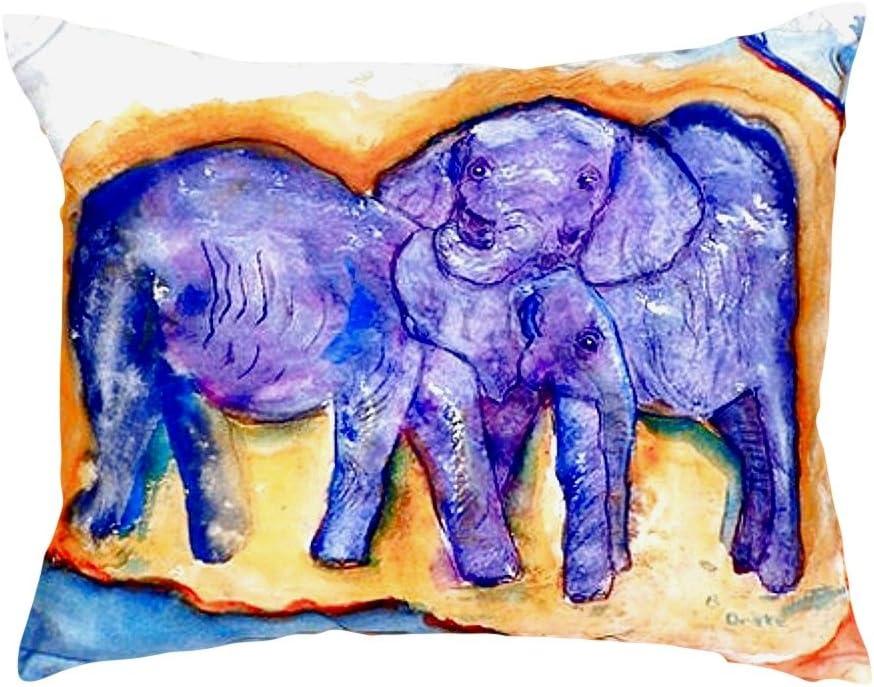 Betsy Drake NC412 Elephants No Cord Pillow 16 x20