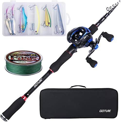 Goture Beginner Fishing kit Lightweight Carbon Fiber Spinning Casting Collapsible Poles Rod with Reel Combo Fishing Rod Kit for Freshwater Saltwater
