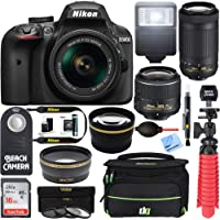 Nikon D3400 24.2MP DSLR Camera with 18-55mm VR and 70-300mm Dual Lens (Black) (Certified Refurbished)