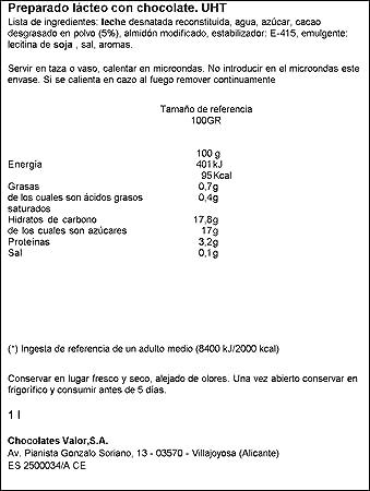 Chocolates Valor A la Taza Listo para Tomar - 1 l: Amazon.es: Amazon Pantry