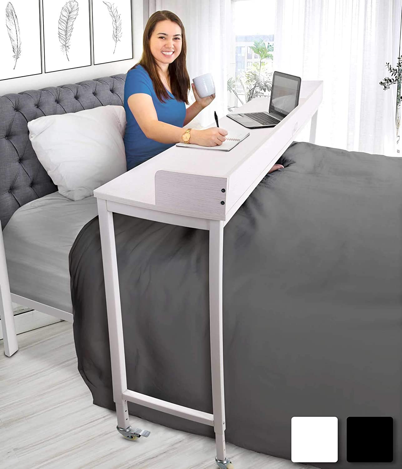 Joy Overbed Table with Wheels  Height Adjustable Rolling Bed Desk for  Full/Queen Beds  Mobile Multi-Functional Table  Great for Bedroom, Dining