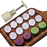 Moon Cake Mold Cookie Stamp Cutter with 10 Stamps, 50g Cookie Press Mid Autumn Festival DIY Decoration Hand Press Cake Mold