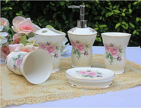 Amazon Com Ustarail Ceramic Bathroom 5 Pieces Set Supplies Pink Elegant Rose Bathroom Accessories Set Stylish Bath Accessories Beautiful Home Gifts Home Kitchen