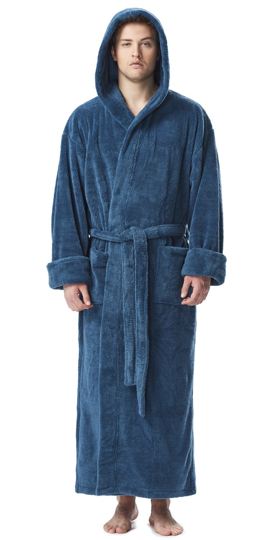 Arus Men's Fleece Robe, Long Hooded Turkish Bathrobe, Ocean, SM