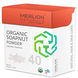 Organic Soapnut Powder by Merlion Naturals | Sapindus mukorossi | NPOP India and USDA NOP Certified 100% Organic | For Shiny & Silky Hair (3.5 OZ)