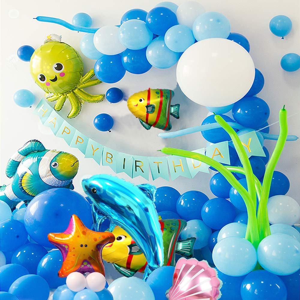 MMTX Globos de Fiesta Decoraci/ón Fiesta de cumplea/ños del Tema mar Delf/ín C/áscara Estrella de mar Pulpo Pez Globo de Aluminio de Animales Marinos Birthday Bandera Globos Azules y Blancos