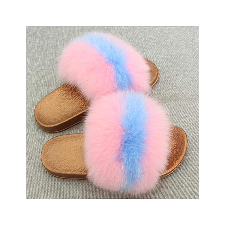 14 Zalin Women's Summer Genuine Fox Fur Slippers PVC Flat Indoor Non-Slip Slippers Furry Slippers