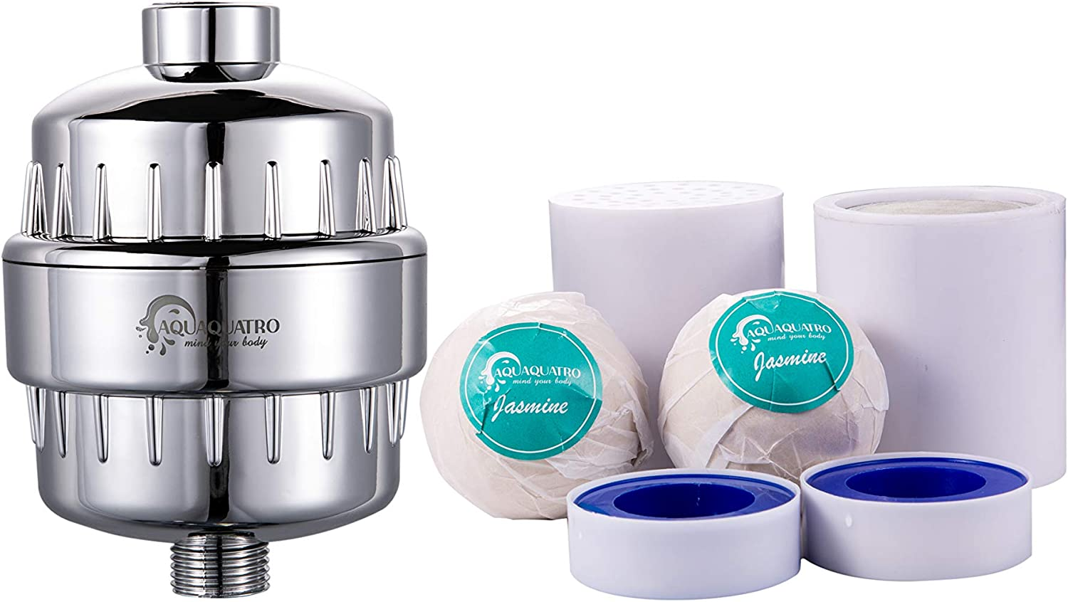 Premium Universal Shower Filter More Bacteria Water Treatment Boosts Skin /& Hair Health by Aquaquatro 15 Stage Shower Water Filter with Extra Cartridge Replacement Removes Chlorine Heavy Metals