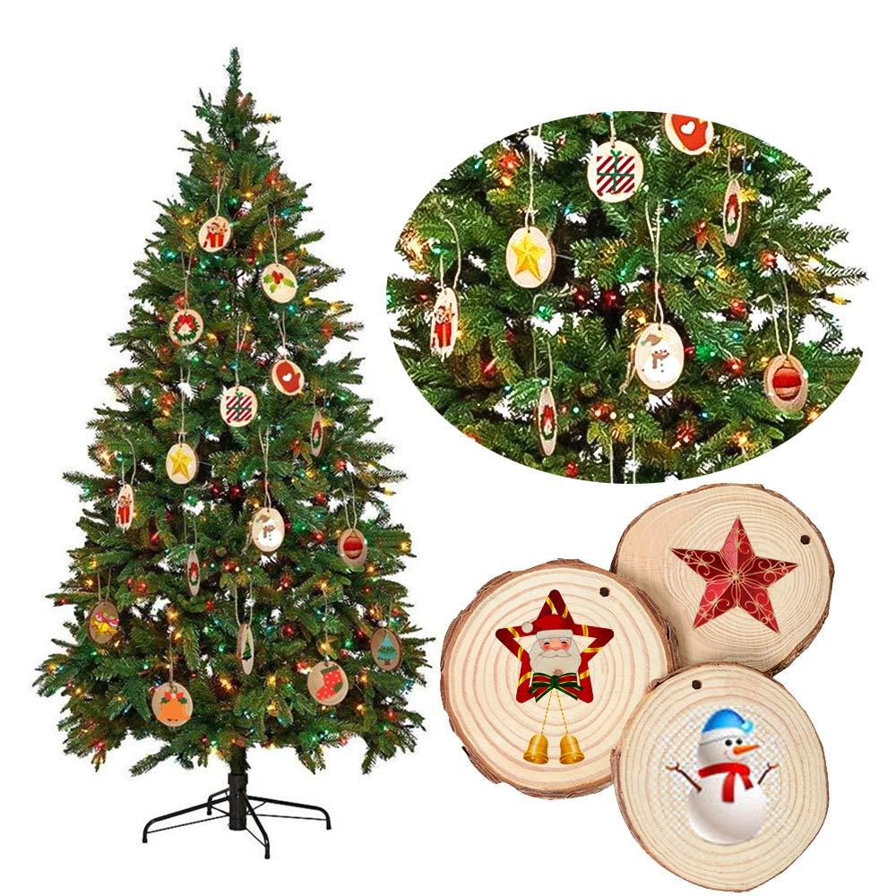 Decorazioni per la casa di Natale JJYHEHOT 50 Pezzi in Legno Naturale con Foro Dischi in Legno Slice Circles per Artigianato Fai da Te