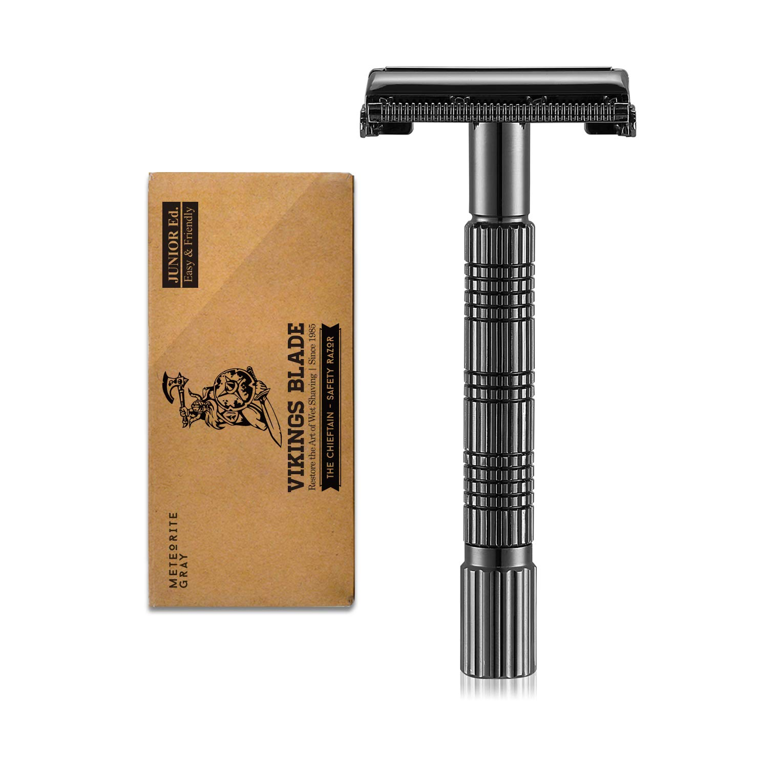 VIKINGS BLADE The Chieftain JR Double Edge Safety Razor, Meteorite Gray (Slim & Mild)