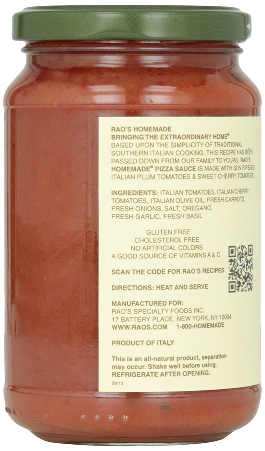 amazon com rao s homemade all natural pizza sauce 13 oz grocery